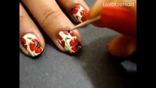 getlinkyoutube.com-California Poppies nail art by LuvableNails