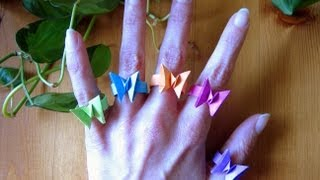 getlinkyoutube.com-Origami ƸӜƷ Butterfly Ring ƸӜƷ
