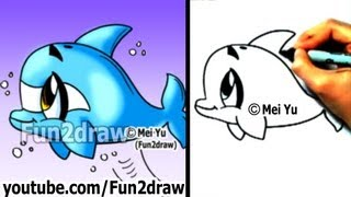 getlinkyoutube.com-How to Draw a Cartoon Dolphin in 2 min - Cute Drawings - Easy Drawings - Fun2draw