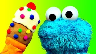 getlinkyoutube.com-Play Doh Ice Cream Cone Surprise Cookie Monster Loves Ice-Cream Cones & Sweet Cookies! Sesame Street