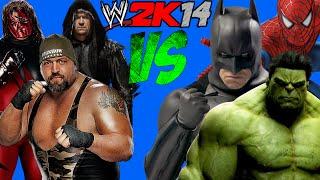 getlinkyoutube.com-WWE 2K14: HULK, Superman, Spider-Man VS Kane, The Undertaker & The Big Show [FR//HD]