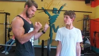 getlinkyoutube.com-Teen Beginners Bodybuilding Training - Upper Body  - Chest, Arms, Shoulders