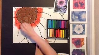 getlinkyoutube.com-Georgia O'Keeffe Inspired Chalk Flower Art lesson