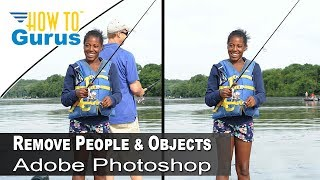 How to Remove People and Objects with Adobe Photoshop from a photo, CS5 CS6 CC 2018 Tutorial