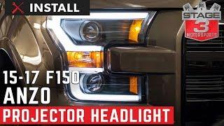 getlinkyoutube.com-2015-2016 F-150 ANZO LED Outline Projector Headlights Install