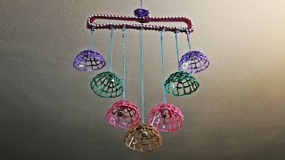 getlinkyoutube.com-DIY Wind Chime/Wall Hanging with dress hanger and hot glue
