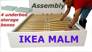 Ikea MALM Bed frame assembly with 4 storage boxes White/luröy width=