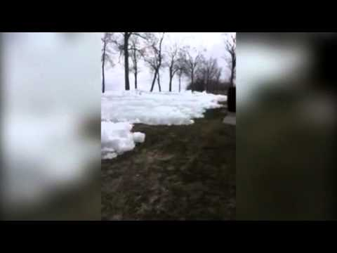 Raw: Ice Wave Comes Ashore in Minnesota