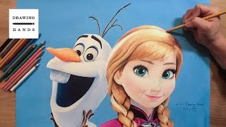 getlinkyoutube.com-겨울왕국 - 올라프 & 안나 그림 그리기 (Speed Drawing Olaf & Anna Frozen, 2013) [Drawing Hands]
