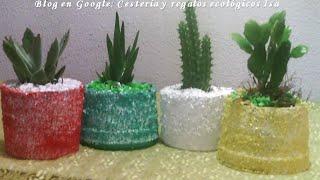Como hacer macetas con potes de plástico. DIY. How to make pots with plastic bottles