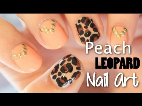 Studded Peach and Leopard Nail Art | TotallyCoolNails