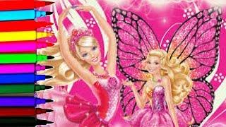 getlinkyoutube.com-SPARKLE BARBIE Coloring Book Pages Barbie Mariposa Sparkle Fairy Disney Brilliant Color Show