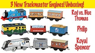 getlinkyoutube.com-Thomas & Friends Trackmaster Unboxing - Red vs. Blue Thomas, Philip, Royal Spencer
