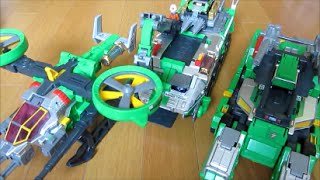 getlinkyoutube.com-トミカ ハイパーグリーンレンジャー タンカー1号、ジャイロ2号、トレーラー3号で遊ぶ 全機集結カッコいい!!