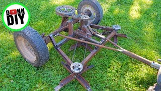 getlinkyoutube.com-Mechanical Ground Driven Mower Made From JUNK!