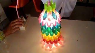 getlinkyoutube.com-โคมไฟจากช้อนพลาสติก By Up To You
