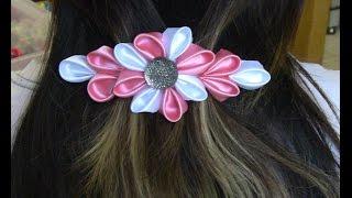 getlinkyoutube.com-Flor  com  varias petulas Passo a Passo -Kanzashi ifuru, Ribbon Rose akam, N'onwe Gị
