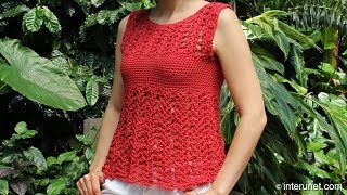 getlinkyoutube.com-Crochet red azalea stitch summer top