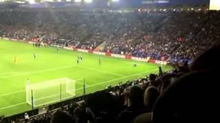 getlinkyoutube.com-Leicester vs Porto - Slimani goal and Leicester fans singing | 27/9/2016