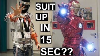 Real-life Iron Man suit frame assembly in 15 SECONDS! - Animatronic suit PART1