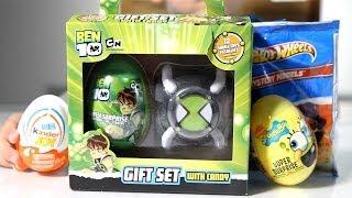 getlinkyoutube.com-Some Eggs: Kinder Joy, Sponge Bob, Ben 10 Surprise Egg and Hot Wheels