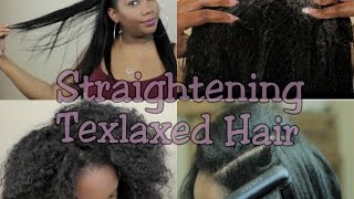 getlinkyoutube.com-How to Straighten Texlaxed Hair- Washing, Deep Condintioning, Flat ironing.