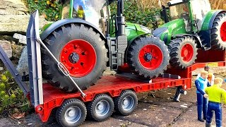 getlinkyoutube.com-BRUDER Toys Crash Truck Scania transport tractor Fendt Vario 1050 936