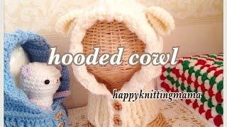 getlinkyoutube.com-羊さんのフード付きスヌード(ネックウォーマー)の編み方【かぎ針】crochet hooded cowlカウル