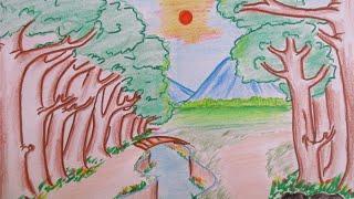 getlinkyoutube.com-How to draw beautiful forest view | draw #6