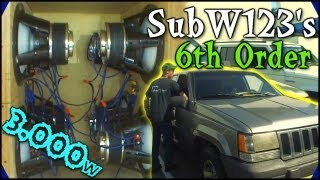 "6th Order Bandpass w/ 8 12"" Inverted Subs on 3,000 Watts 