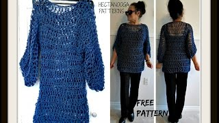 getlinkyoutube.com-CROCHET Open Mesh BIG T Pullover Sweater, free crochet pattern #1114yt