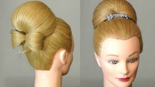 getlinkyoutube.com-Прическа: Бабетта с бантом из волос.  Bun with hair  bow for long hair