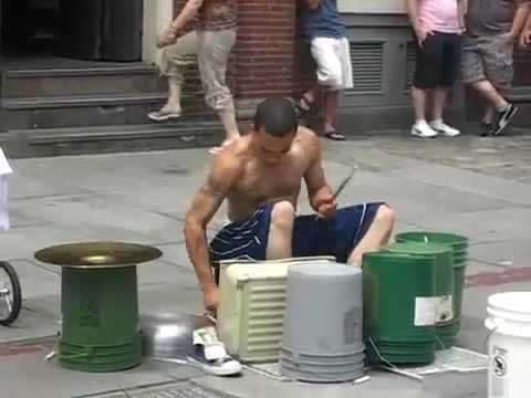 Amazing Street drummer - One of the best i've seen.