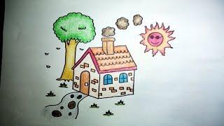 getlinkyoutube.com-บ้านน้อย สอนวาดรูปการ์ตูนง่ายๆ ระบายสี How to Draw a House for Kids Step by Step
