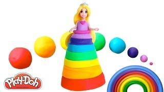 getlinkyoutube.com-How to Make a Play Doh Disney Princess Rainbow Dress Magiclip | Learn Colors | RainbowLearning