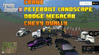getlinkyoutube.com-Farming Simulator 2015 Mods- Peterbilt Landscape, Dodge Megacab, Silverado Dually, Crane and More!