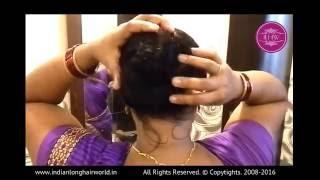 getlinkyoutube.com-Beautiful Knee Length Rapunzel Bun making & Hair Play Video