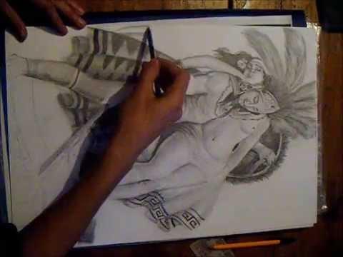 Dibujo A Lapiz De Azteca La Leyenda Los Volcanes