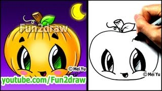 getlinkyoutube.com-How to Draw a Pumpkin for Halloween - Fun2draw Cartoon Tutorial