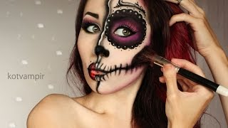getlinkyoutube.com-Sugar skull Сахарный череп make up tutorial by kotvampir