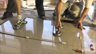 "getlinkyoutube.com-Porcelain tiles 2'x4' (24""x48"") installation - Polmaster's New Showroom"