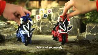 getlinkyoutube.com-Power Rangers Samurai Switch Morphin Figures and Disc Cycles