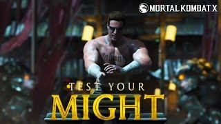 getlinkyoutube.com-Mortal Kombat X  -  TEST YOUR MIGHT Tower  - Johnny Cage All Stages  [Flawless]