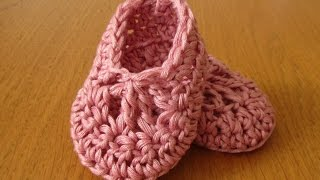 getlinkyoutube.com-EASY crochet baby ballet slippers - dainty crochet baby booties / shoes