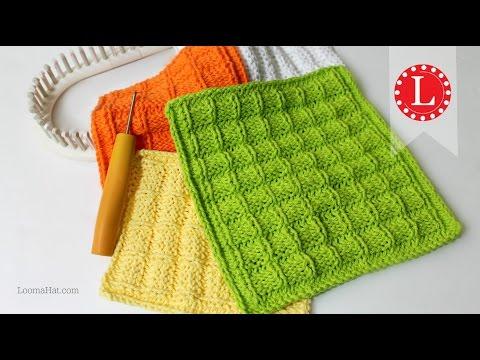 LOOM KNITTING Washcloth Dishcloth Waffle Stitch Project Pattern