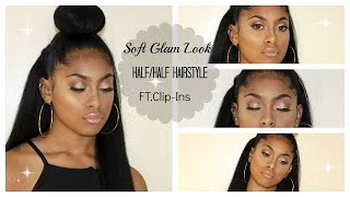 getlinkyoutube.com-Soft Glam Look/Half & half hairstyle ft clip-ins