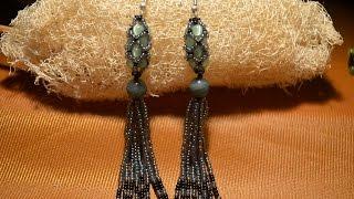 "getlinkyoutube.com-Серьги из бисера. ""Ажурный жгут"".  Бисероплетение.  Мастер класс / Earrings from beads. Beading."