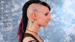 getlinkyoutube.com-Romina's futuristischer Look: Side Cuts, Tattoos , Piercings und ganz feine Dreadlocks