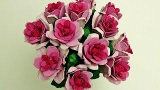 getlinkyoutube.com-Cómo realizar flores rosas con hueveras de cartón recicladas - How to make flowers with egg cartons