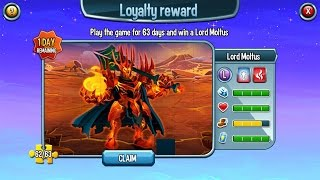 Loyalty Reward Lord Moltus Level 70 on Monster Legends
